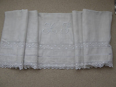 BEAUTIFUL ANTIQUE FRENCH LINEN SHEET HAND MADE LARGE MONOGRAMME EMBROIDERY c1900
