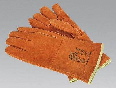 Sealey SSP151 Leather Welding Gauntlets Lined Heavy-Duty Pair Safety Equipment