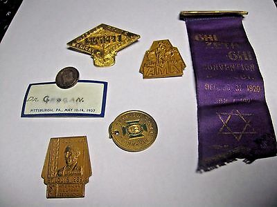 6 medical convention medals AMA  Medical Asc. Ghi Zeta Ghi 1920's St. Louis