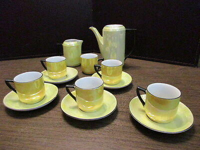 Vintage Tiny Porcelain Yellow Luster Demitasse Coffee Pot - Cups & Saucers