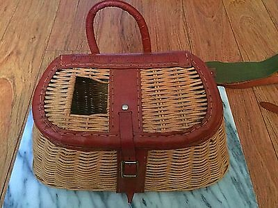 Excellent Vintage Clean Leathered Split Willow Basket Creel British Hong Kong