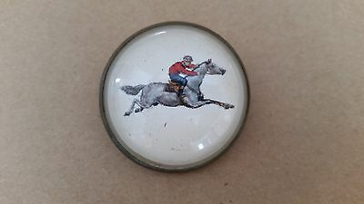Antique Horse & Jockey Dome Glass Bridle Rosette Pin Brooch