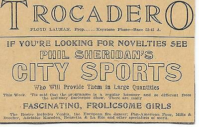 """Famous Phila Strip Club Ad from 1904! """"Frolicsome Girls @ the Trocadero"""""""