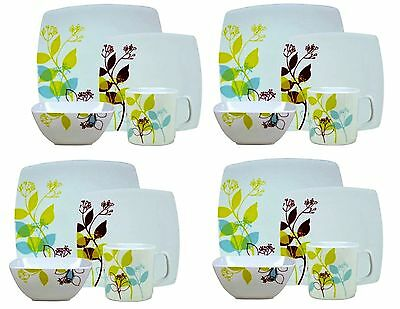 16PC Complete Dinner Set Square Plates Bowls Cups Dinnerware Set 4 Place Setting