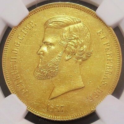 1857 Gold Brazil 20,000 Reis Pedro Ii Coin Ngc About Uncirculated*