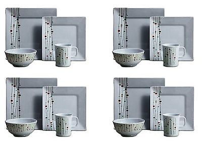 16PC Complete Dinner Set Dinnerware Square Plates Bowls Mugs Set 4 Place Setting