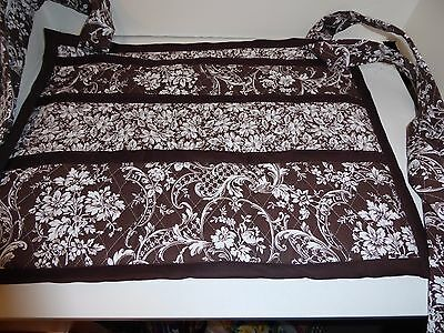 HANDMADE WALKER COVER/BAG W/ MANY POCKETS; brown & white floral