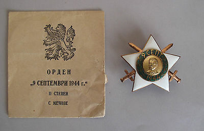 RARE Bulgaria old  military Order 9th of September 1944 2nd class + envelope