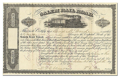 Salem Rail Road Stock Certificate (1800's)