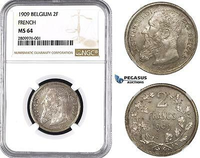 ZM557, Belgium, Leopold II, 2 Francs 1909 (French Legend) Silver, NGC MS64
