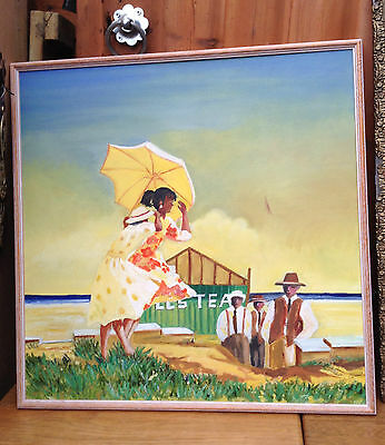 Beach Babes Oil Painting by Isobell Anderson Retro Style 25 inch Framed