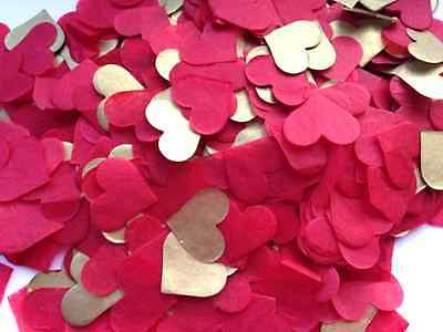 1200 Handmade Tissue Paper Heart Confetti RED GOLD Wedding Vintage Romantic
