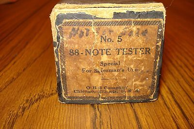 """*RARE* Vintage """"For Salesman's Use"""" QRS Chicago Piano Roll No 5. 88 Note Tester"""