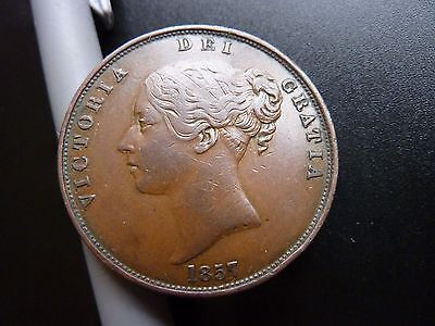 1857 Large Victoria Penny Higher Grade Coin