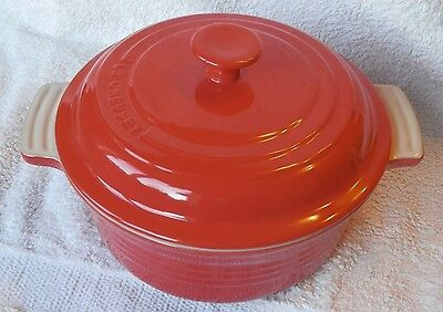 Le Creuset Stoneware, large Casserole with Lid, Red/Cerise, BNWT