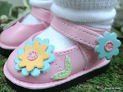 "PINK Mary Jane DOLL SHOES w/ FLOWER Accents fits 18"" AMERICAN GIRL Doll Clothes"