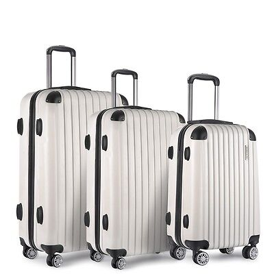 "NEW 3 Pcs Lightweight Hard Shell Travel Luggage 20"" 24"" 28"" w/ TSA Lock - White"