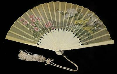 Orig Vtg Antique Victorian Hand Painted Silk W Bone Handle Bustle Dress Gown Fan
