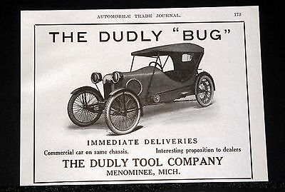 "1914 Old Magazine Print Ad, The Dudly (Cyclecar) ""bug"", Immediate Deliveries!"