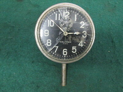 Old Waltham 8 Day Car Clock Heavy For Parts or Restore