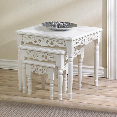 Chic White Nesting Accent Tables with Floral-Inspired Cutouts 3PC Set NIB