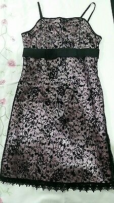 Myer, Black lace pink under layer Party/ Bridesmaid / Formal Girls Dress Size 12