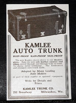 1914 Old Magazine Print Ad, Kamlee Auto Trunk For Motor Cars, Rain & Dust Proof!