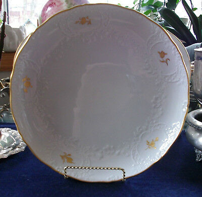"Meissen-Crossed Swords-Large Plate 12""- Beautiful Display! Embossed! Mint! Gilt!"