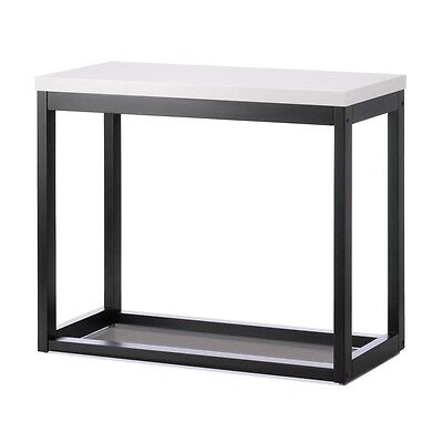Modern Contemporary Black Frame Table with White Top NIB Wood