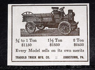 1914 Old Magazine Print Ad, Trabold Trucks, Every Model Sells On Its Own Merits!