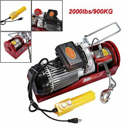 2000lbs Mini Electric Wire Hoist Garage Auto Shop Overhead Lift Remote Control