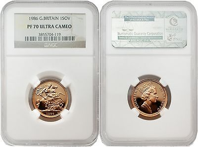 Great Britain 1986 Sovereign Gold NGC PF-70 ULTRA CAMEO
