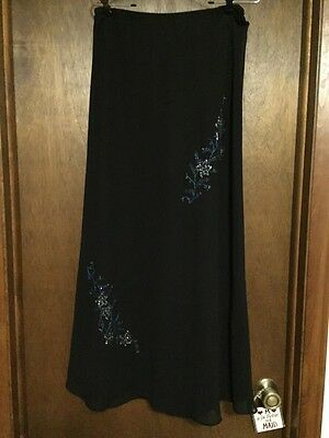 Women's Size 14 Navy Beaded Formal Lined Skirt Holiday Wedding
