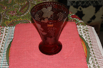 Egermann Ruby Red Cut To Clear Glass Vase-#2-Czech Republic-Flowers & Grapes