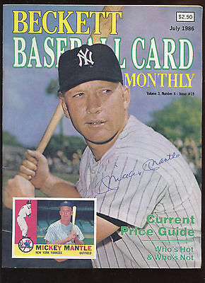 July 1986 Beckett Baseball Card Price Guide With Mickey Mantle Cover EXMT