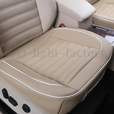 Beige PU Leather Car Seats Protector Mat Cover Auto Seat Pad Breathable Cushion