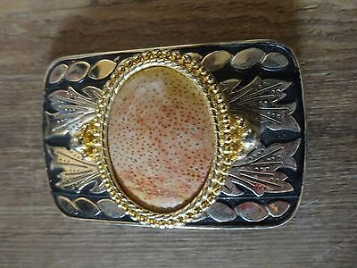 Delicate Feminine Belt Buckle Gild Leaves Oval Stone with 2 rings beads 3 x 2