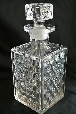 Vtg Fostoria Glass American Cube/Square Decanter Bottle w. Stopper-9""