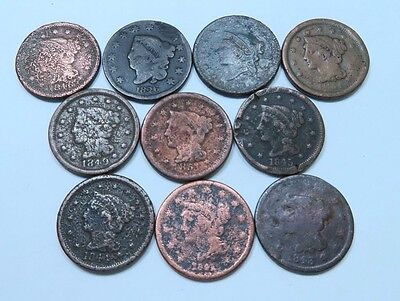 (10) Coronet Head + Braided Hair Large Cent Lot // 10 Coins // (LCL19)