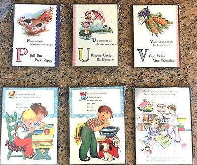 Lot 6 Vtg Metal Glass Framed Wall Hanging Cloth Childs Nursery Rhyme Book Page