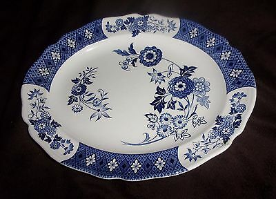 """J & G Meakin England Royal Staffordshire Blue White 12 """" Oval Platter Cathay"""