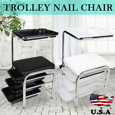 Salon Nail Manicure Pedicure Trolley Stool Chair Station Draws Tray Table Cart