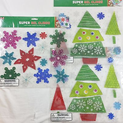 3 Christmas Window Gel Cling Sheets Snowflakes Christmas Trees Red Blue Green