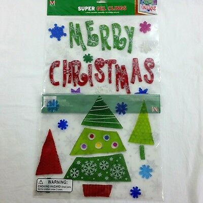 2 Christmas Window Gel Cling Sheets Re-usable Tree Snowflakes Merry Christmas