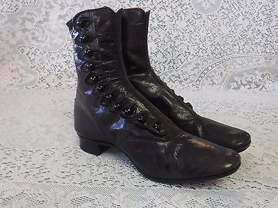 Antique Victorian Womens (small) Boots Shoes Dark Brown Scalloped Edge