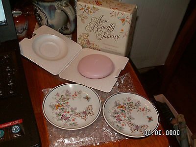 Vintage Avon NEW BUTTERFLY FANTASY 2 PORCELAIN DISHES 1 SPECIAL OCCASION SOAP