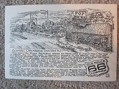 Pop Hicks in Clinton by the Late Bob Waldmire Artist Route 66 Post card,Quik s&h
