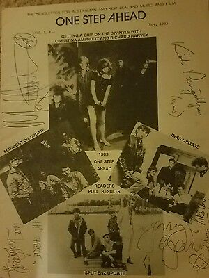 Michael Hutchence Autographed Inxs Late Lead Singer  Rare Mag + Band Signatures