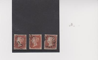QV 1841 Three 1d reds plate 30 lettered KI, KJ and OI all fine used four margins