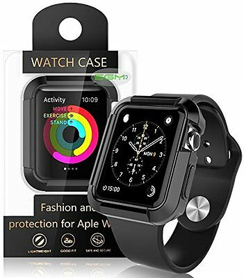 Rugged Flexible Silicon Case Cover Screen Protector For Apple Watch 42 MM Black